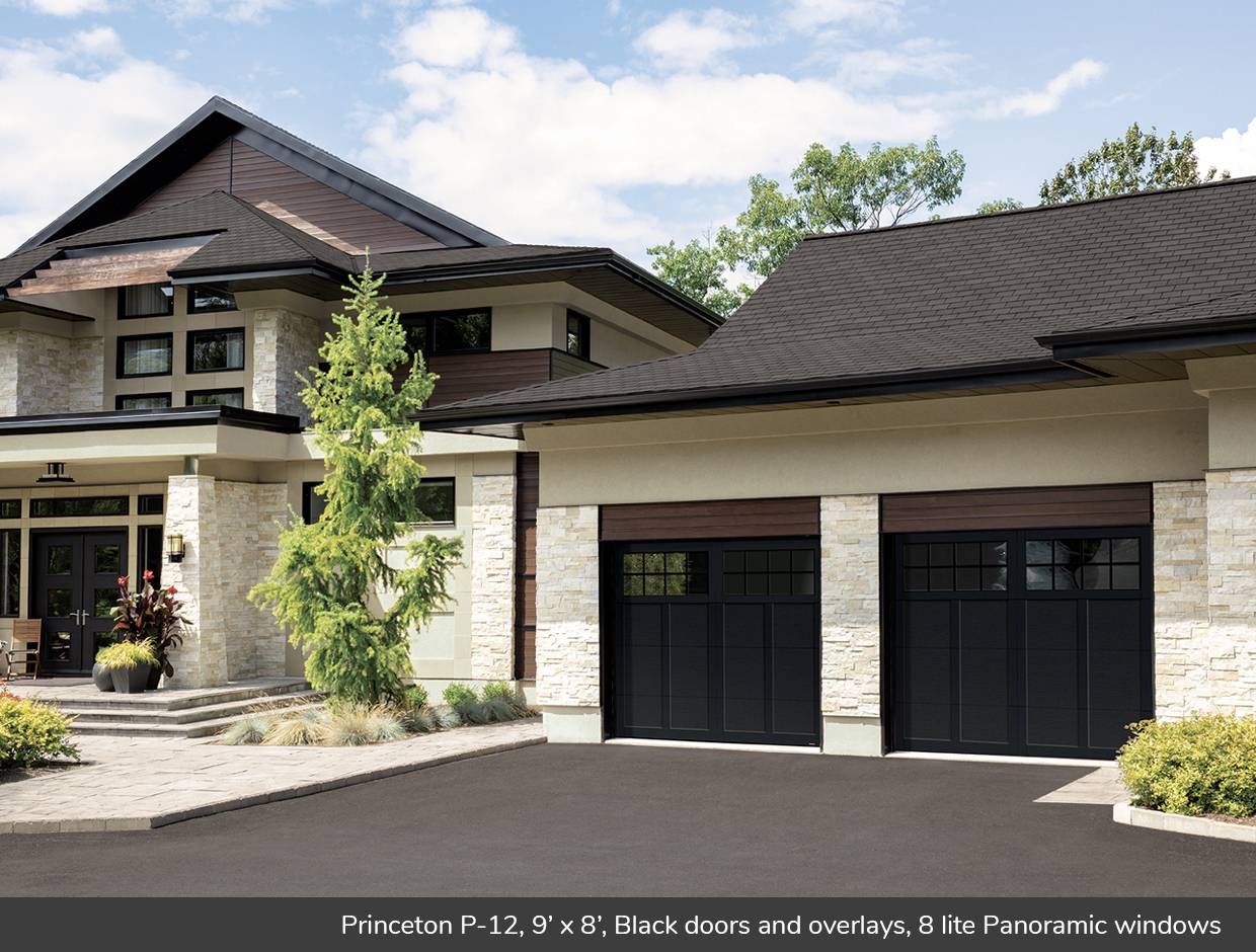 Princeton P-12, 9' x 8', Black doors and overlays, 8 lite Panoramic windows