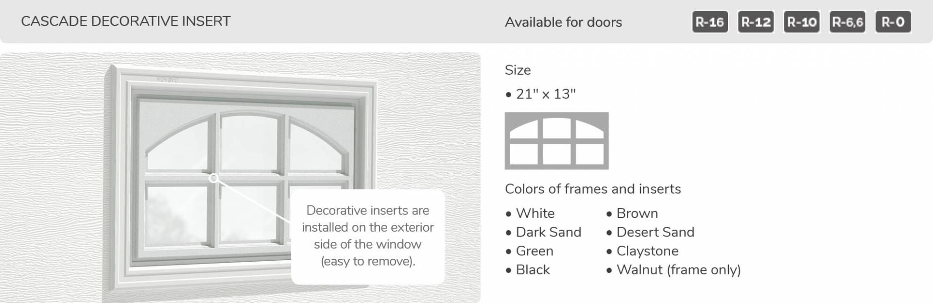 Cascade Decorative Inserts, 21' x 13', available for doors R-16, R-12, R-10, R-6,6 and R-0